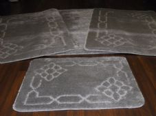 ROMANY TRAVELLERS MATS SET 4PCS NON SLIP  SUPER THICK SILVER/GREY LOVELEY DESIGN